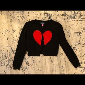 Black button cardigan with heart
